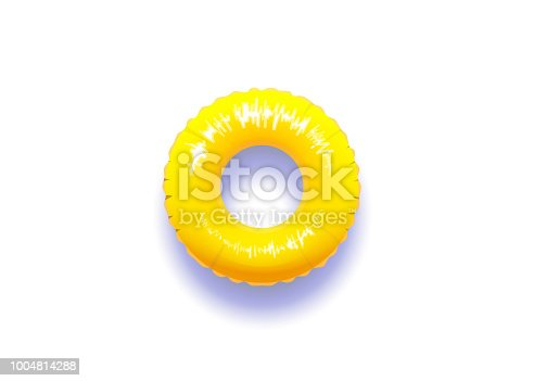 Yellow pool float with real shadow isolated in white background. Vector illustration