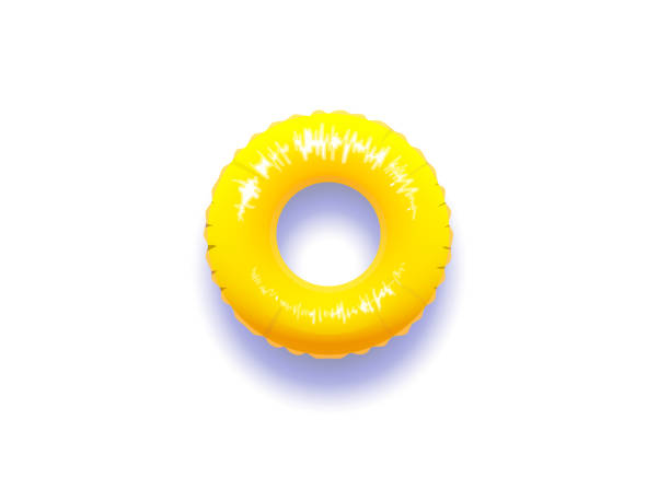 Yellow pool float with real shadow isolated in white background Yellow pool float with real shadow isolated in white background. Vector illustration tube stock illustrations