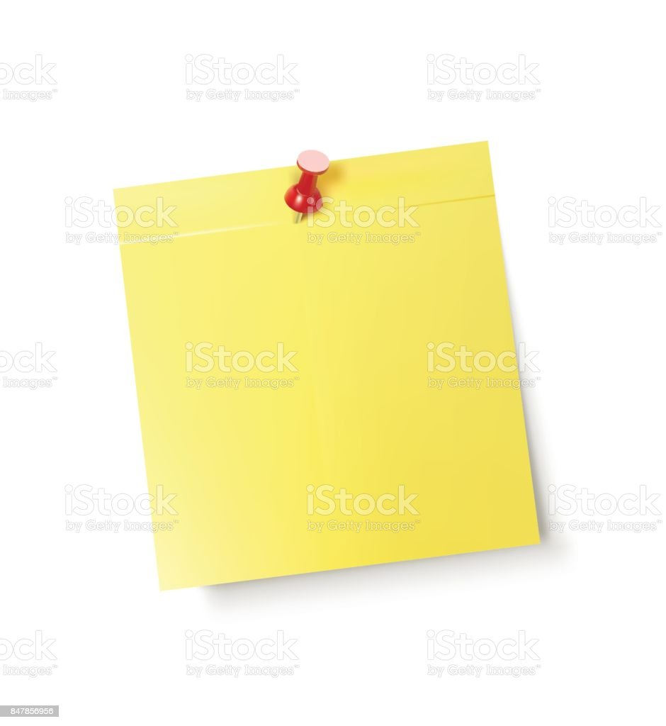 Yellow Post It Note Pinned With A Red Pin vector art illustration