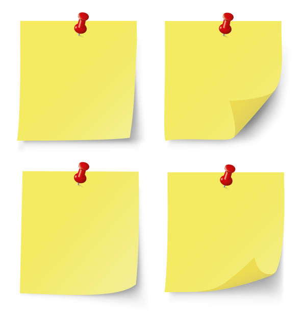 illustrazioni stock, clip art, cartoni animati e icone di tendenza di yellow post note set. vector illustration - post it