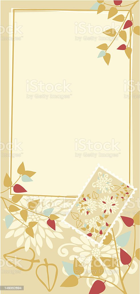 Yellow Postcard with Floral Decoration and Stamp royalty-free stock vector art