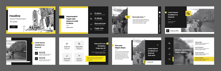 Yellow presentation templates elements on a white background. Vector infographics.