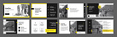 istock Yellow presentation templates elements on a white background. Vector infographics. 1281222305