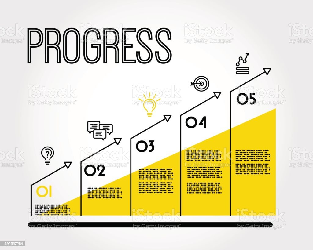 yellow progress infographic graph with title vector art illustration