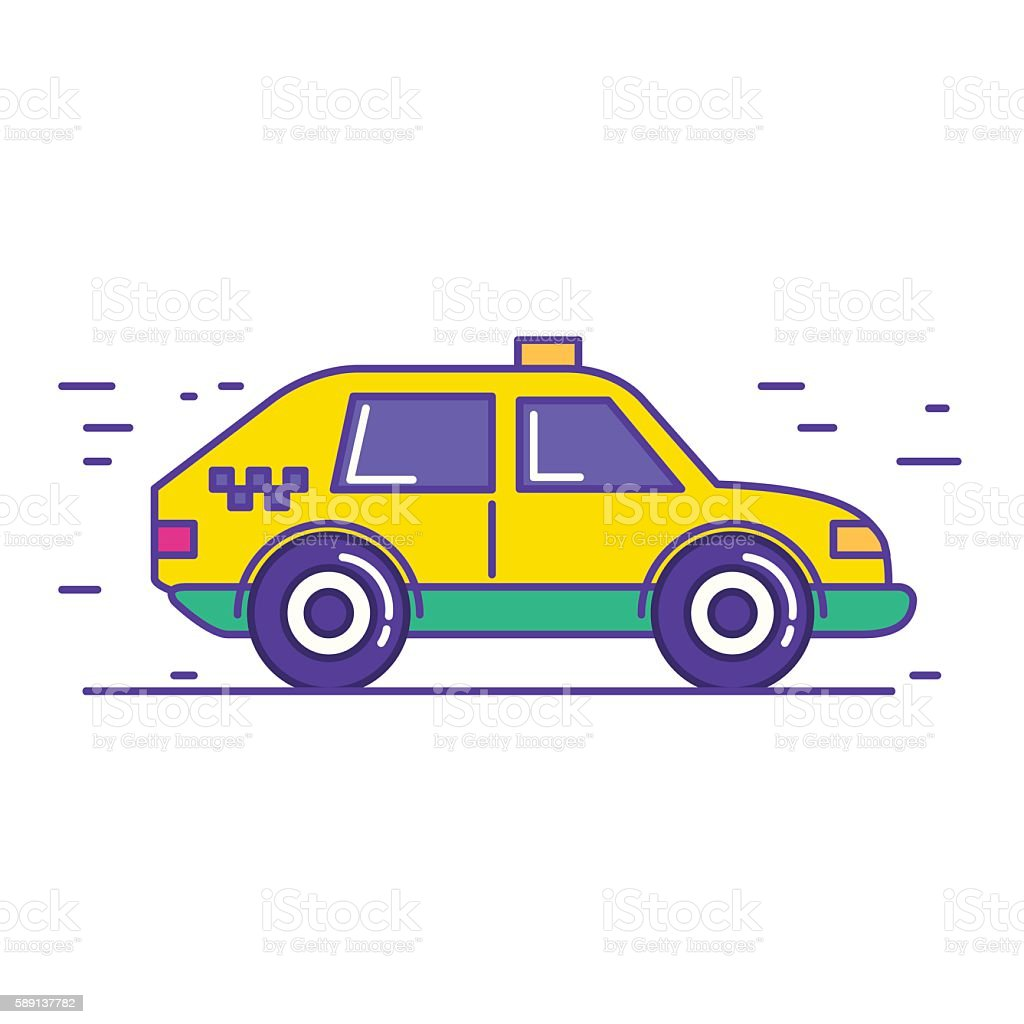 Yellow public taxi car icon in trendy cartoon line style. vector art illustration