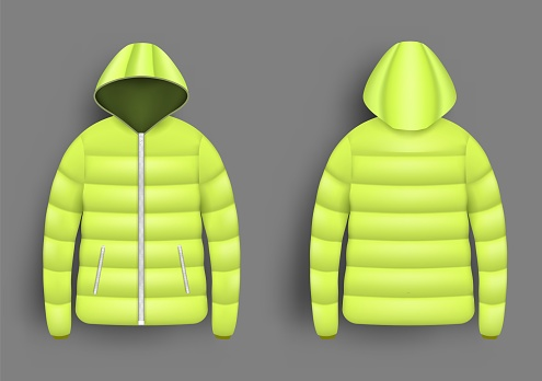Yellow puffer jacket mockup set, vector isolated illustration. Realistic modern hooded down jacket, front and back view.