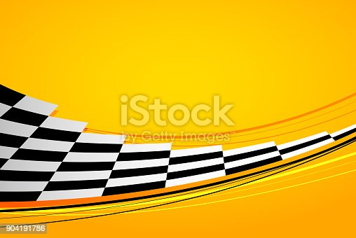 Yellow racing background, sport banner with checkered flag