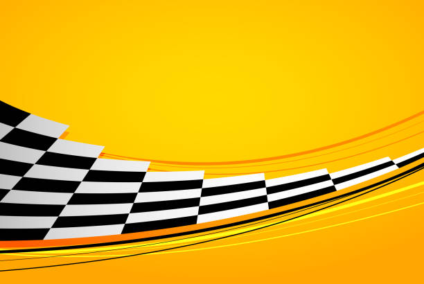 Yellow racing background Yellow racing background, sport banner with checkered flag auto racing stock illustrations
