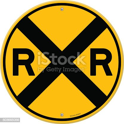 Railroad warning symbol isolated on white background. EPS version 10 with transparency included in download.