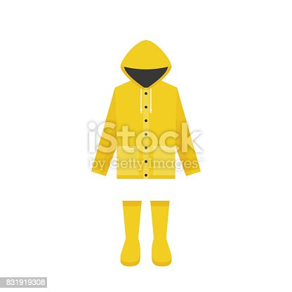 istock yellow raincoat and rubber boots, flat design for rainy season 831919308