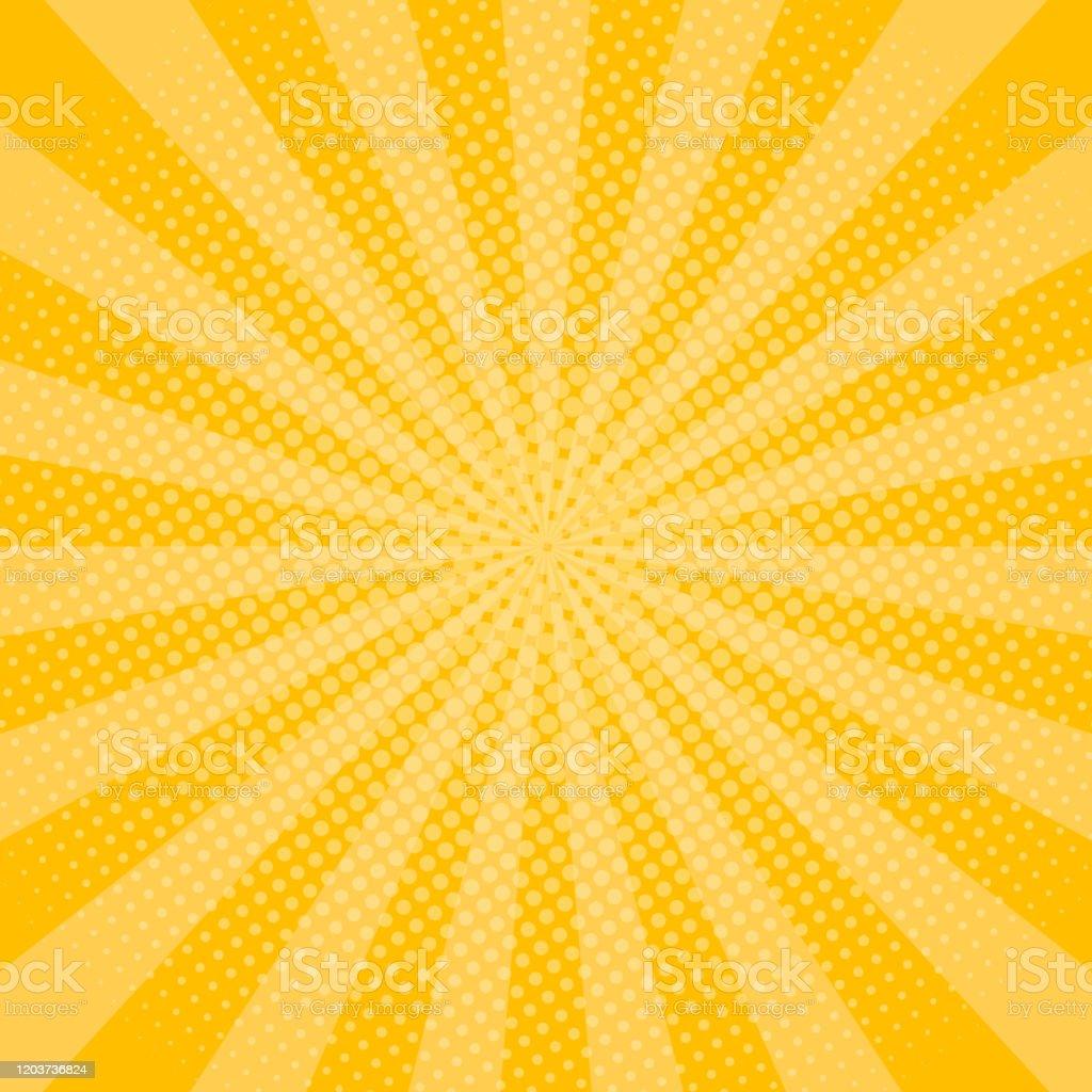 ハーフトーン効果を持つ黄色の光線の背景漫画本のための輝くサン