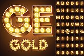 Yellow realistic old lamp alphabet for light board