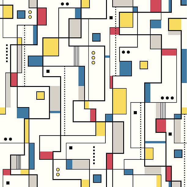 yellow red and blue abstract pattern - modern art stock illustrations