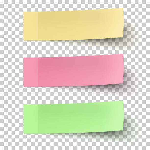 yellow, red and green sticky notes isolated on transparent background - post it notes stock illustrations