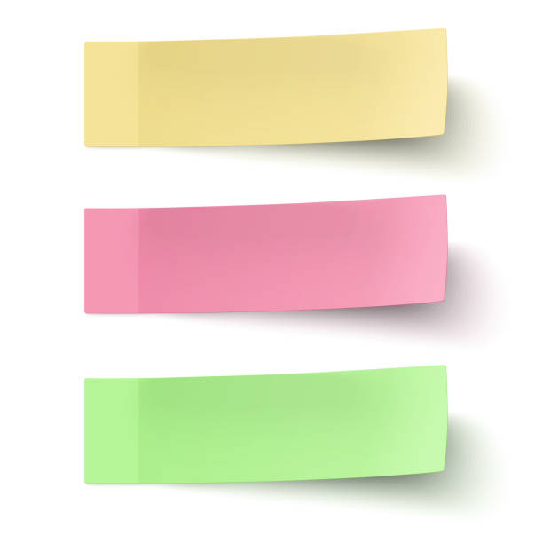 yellow, red and green sticky notes isolated on white background - post it notes stock illustrations