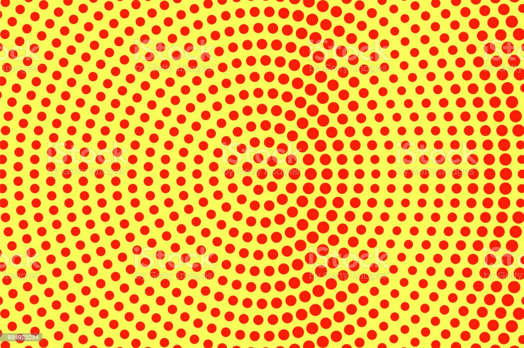 Amarillo Rojo Puntea Trama De Semitonos Gran Tamaño Radial Gradiente ...