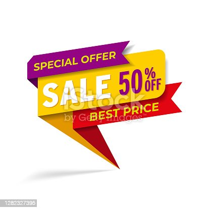 istock Yellow red tag final sale promotion web banner heading design on graphic white background vector for banner or poster. Sale and discount concept 1282327395