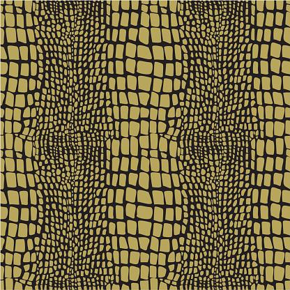 A yellow reptile skin seamless pattern