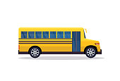 yellow retro bus back to school pupils transport concept white background flat horizontal banner vector illustration