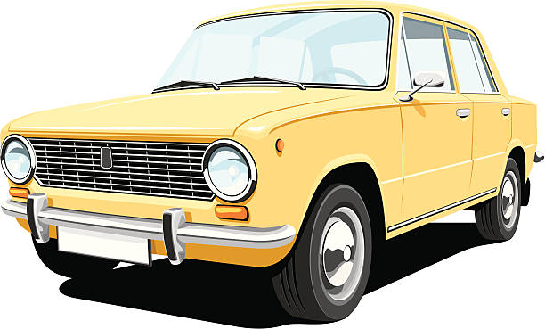 Yellow retro car Vector isolated yellow retro car without gradients EPS8 / CDR10 format. obsolete stock illustrations