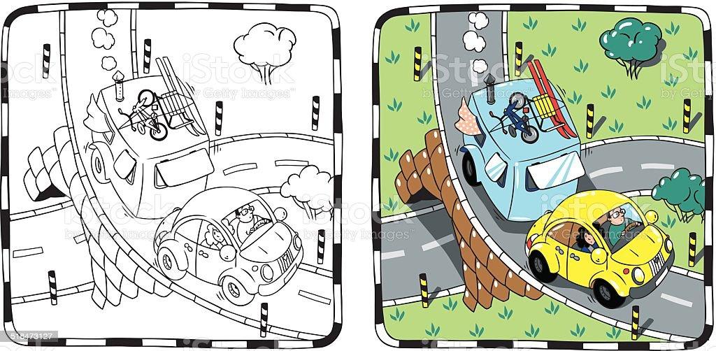 Ilustración de Amarillo Retro Car Con Remolque Libro Para Colorear y ...