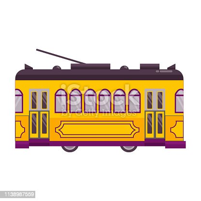 Yellow vintage tram icon isolated on white background. Lisbon retro tramway. Old-fashioned trolley side view.
