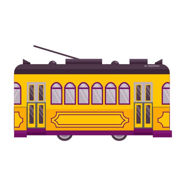 ilustrações de stock, clip art, desenhos animados e ícones de yellow retro tram single icon - eletrico lisboa
