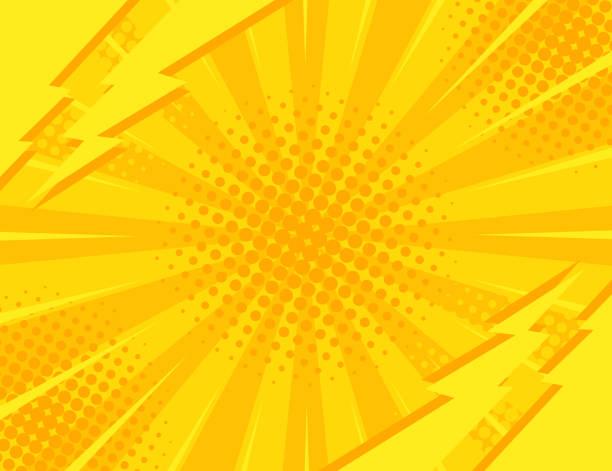 ilustrações de stock, clip art, desenhos animados e ícones de yellow retro vintage style background with sun rays and lightning. vector illustration - músico popular