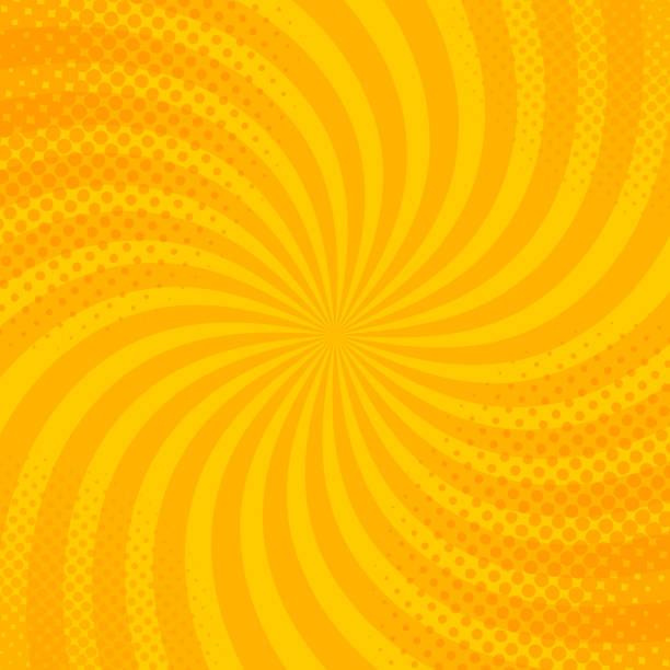 stockillustraties, clipart, cartoons en iconen met gele retro vintage stijl achtergrond met zonnestralen vectorillustratie - seventies