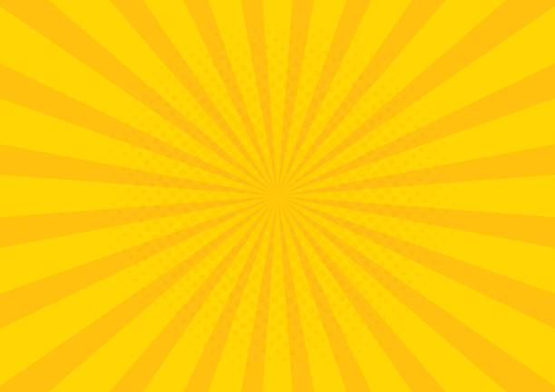 yellow retro vintage style background with sun rays vector illustration - yellow stock illustrations