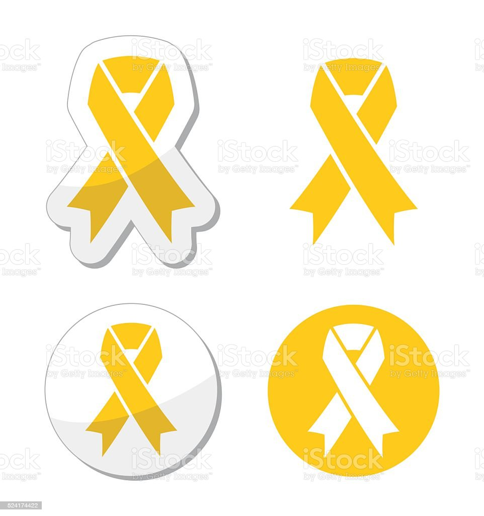 Yellow ribbon - support for troops, suicide prevention, adoptive parents vector art illustration