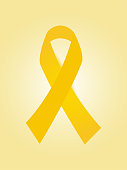 Yellow ribbon vector. Bone cancer, endometriosis, childhood cancer, world press freedom, safety road symbol. Suicide prevention.