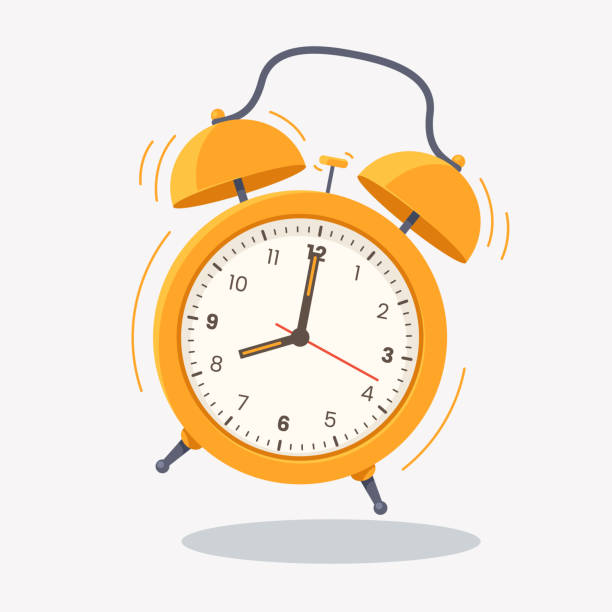 Yellow ringing alarm clock icon isolated on white background. Wake up time. Desk clock vector illustration in flat style. Element for your design. Yellow ringing alarm clock icon isolated on white background. Wake up time. Desk clock vector illustration in flat style. Element for your design. alarm stock illustrations
