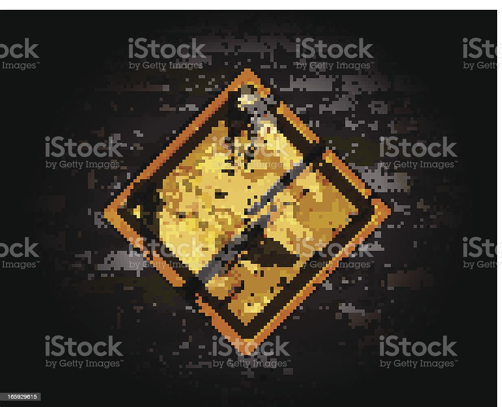 Sinal de estrada amarelo em uma parede de tijolo - ilustração de arte vetorial
