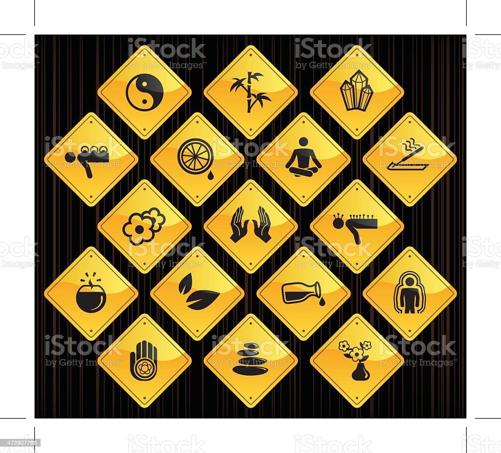 Yellow Road Signs - Alternative Medicine royalty-free stock vector art