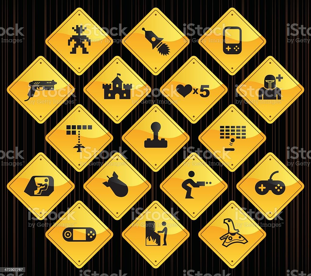 Yellow Road Signs - Arcade Gaming royalty-free stock vector art