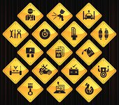 17 road sign icons representing different automobile repair shop related icons.