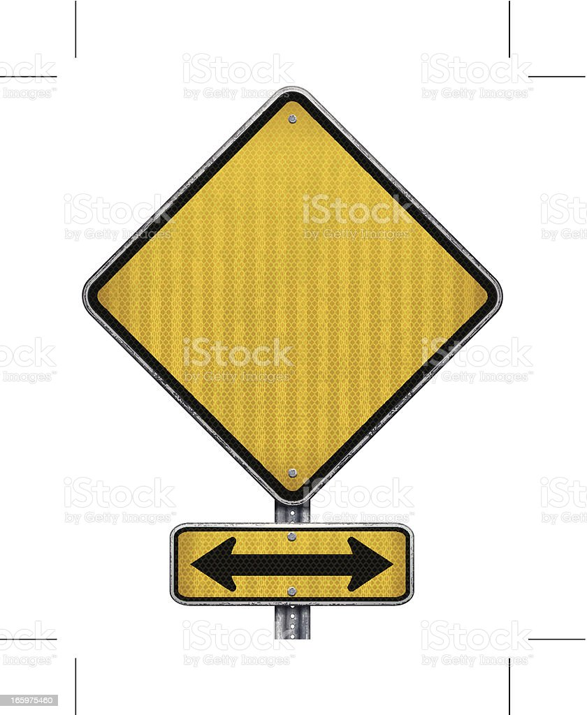 yellow road signs: blank and both directions vector art illustration