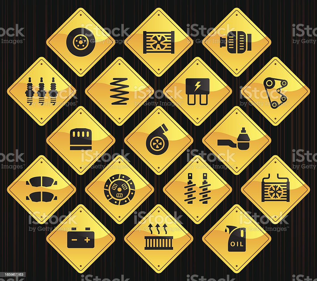 Yellow Road Signs - Car Maintenance royalty-free stock vector art