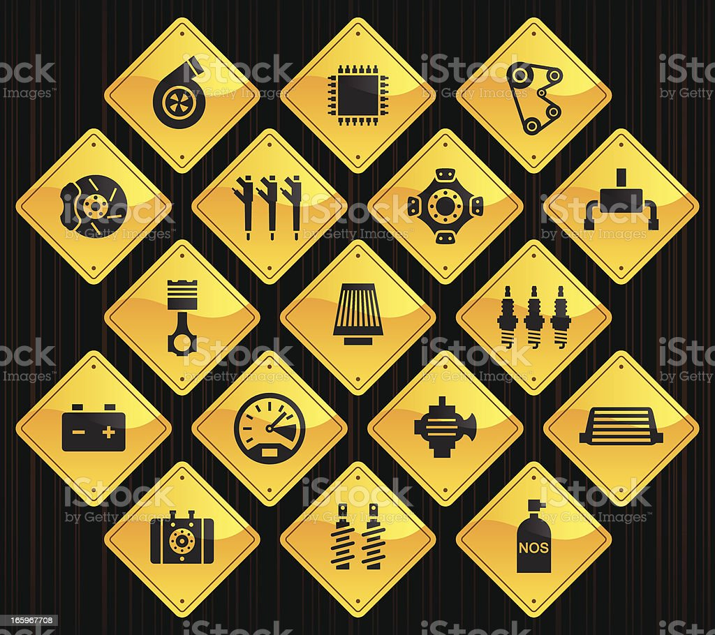 Yellow Road Signs - Car Performance Parts royalty-free yellow road signs car performance parts stock vector art & more images of auto racing