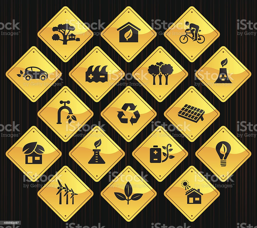 Yellow Road Signs - Clean & Green royalty-free stock vector art