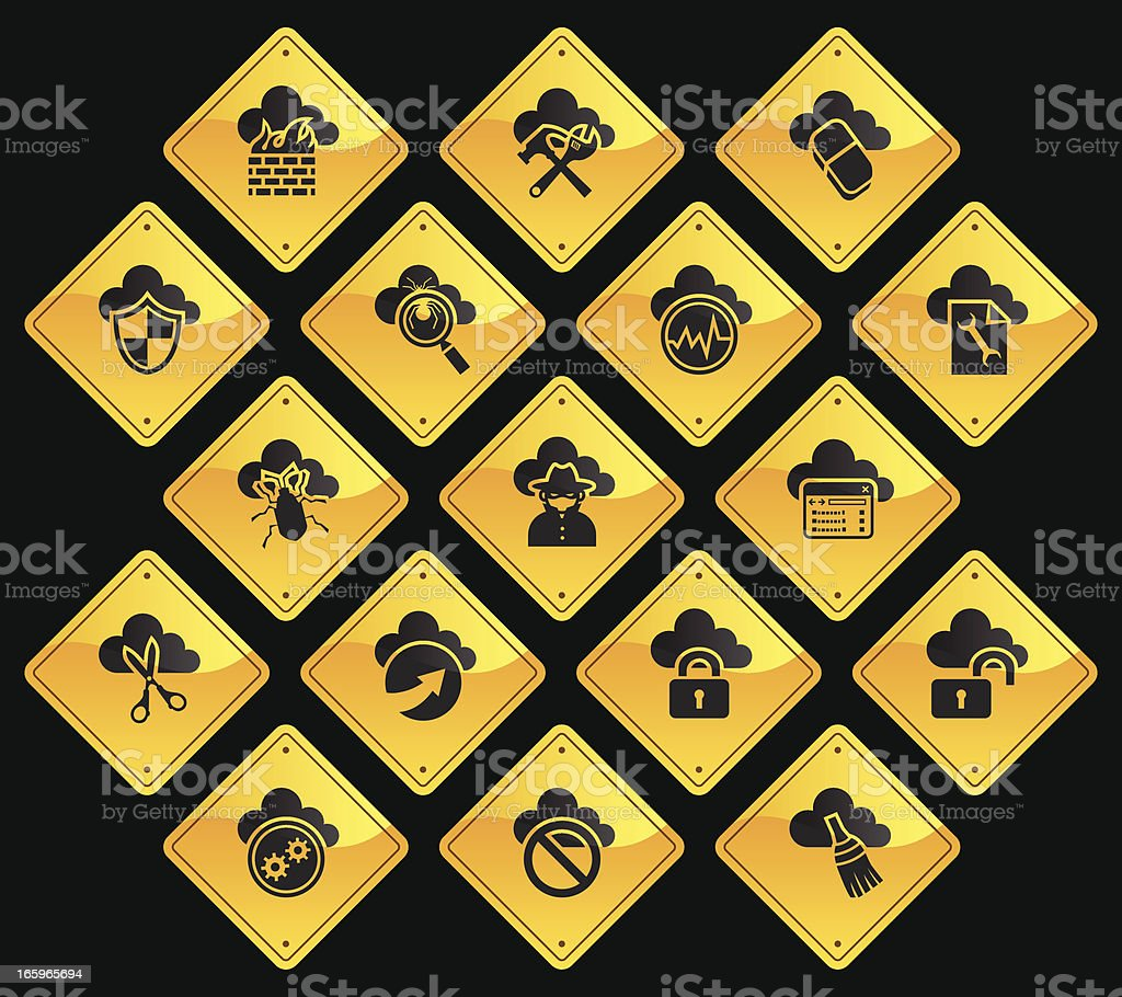 Yellow Road Signs - Cloud Security royalty-free stock vector art