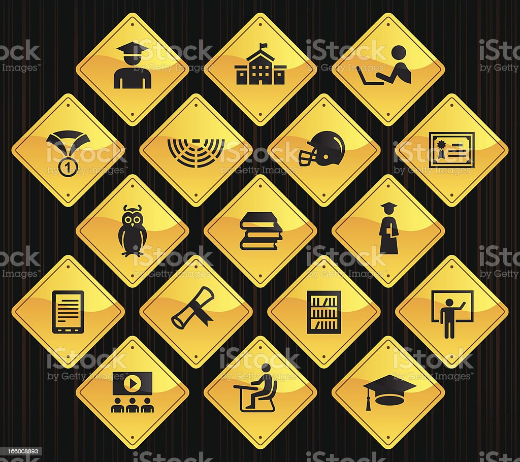 Yellow Road Signs - College & Students vector art illustration