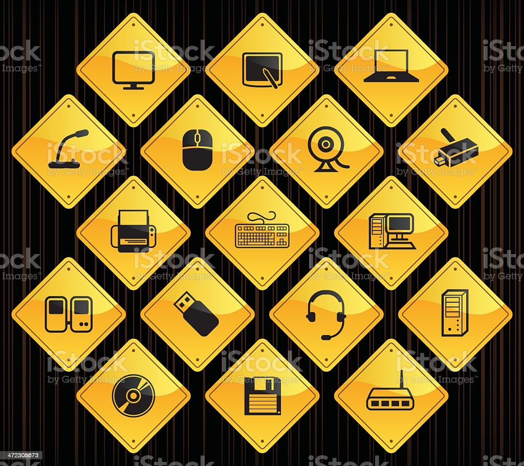 Yellow Road Signs - Computer & Peripherals royalty-free stock vector art