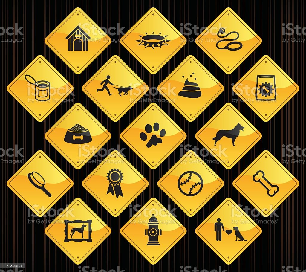Yellow Road Signs - Dog royalty-free yellow road signs dog stock vector art & more images of animal
