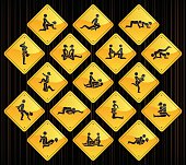 17 road sign icons representing different erotic positions.