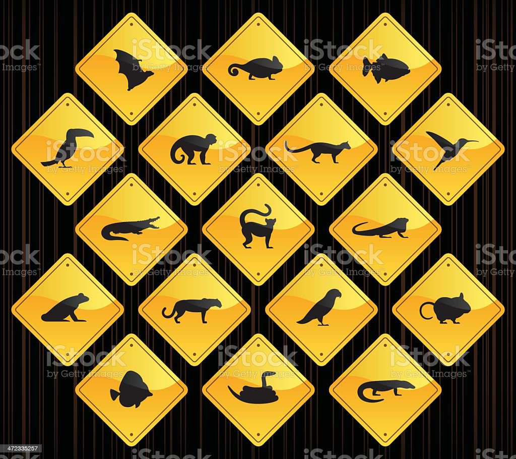 Yellow Road Signs - Exotic Animals royalty-free stock vector art