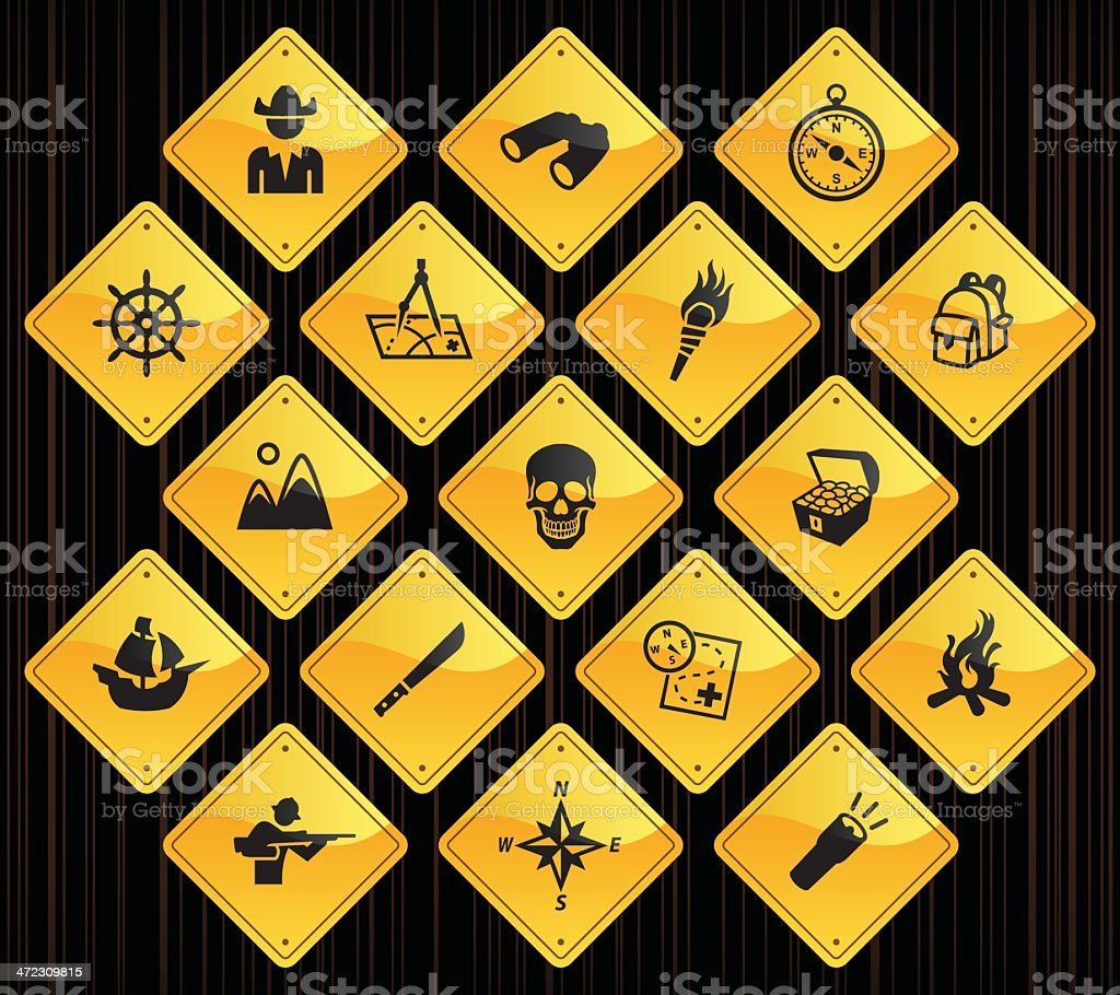 Yellow Road Signs - Exploration royalty-free stock vector art