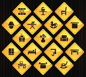 17 road sign icons representing different furniture categories.