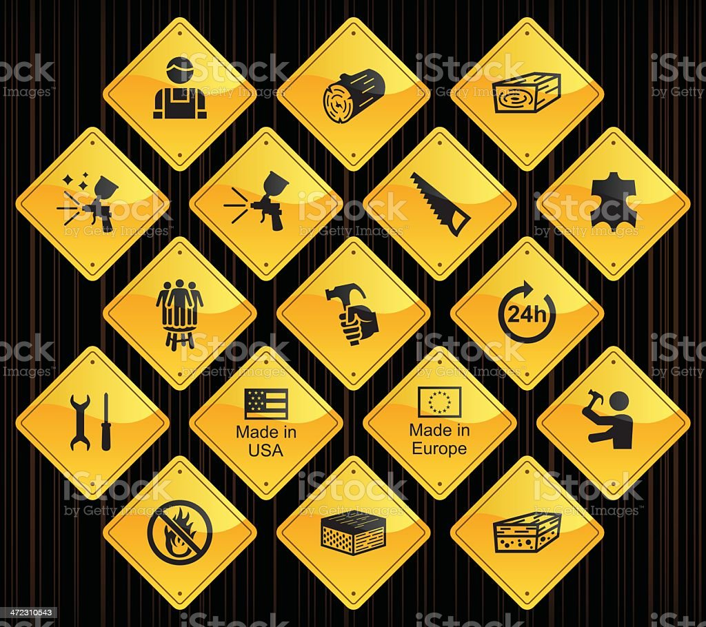 Yellow Road Signs Furniture Fabrication Stock Vector Art - Road sign furniture